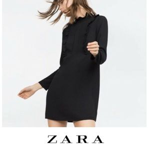 Zara woman black ruffle dress EUC XS